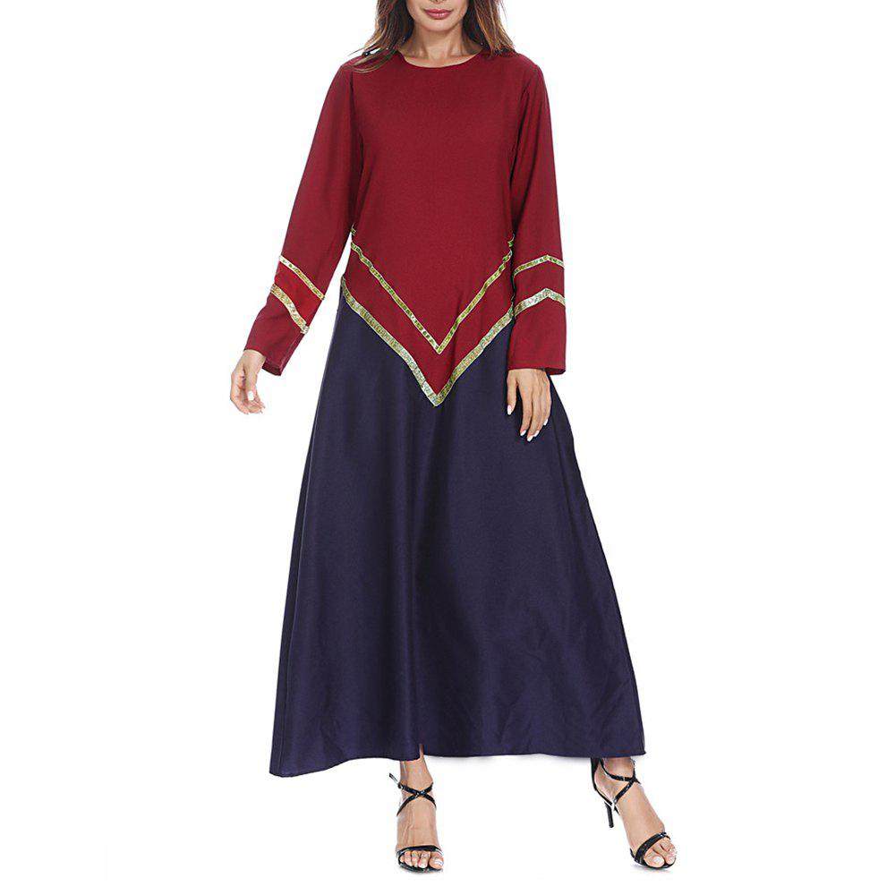Best Big Code Fashion Loose Fitting Gold Strip Dress  Gown Dress