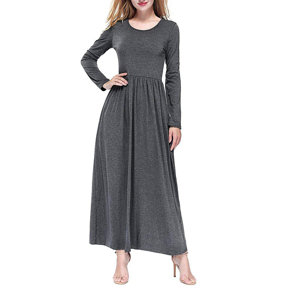 Shops Women Round Neck Solid Color Autumn Long Sleeve High Waist Maxi Dress