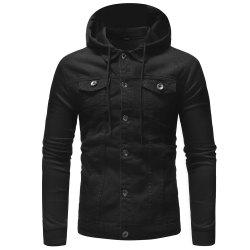 Fashion Multi-pocket Men's Casual Hooded Long-sleeved Denim Jacket -