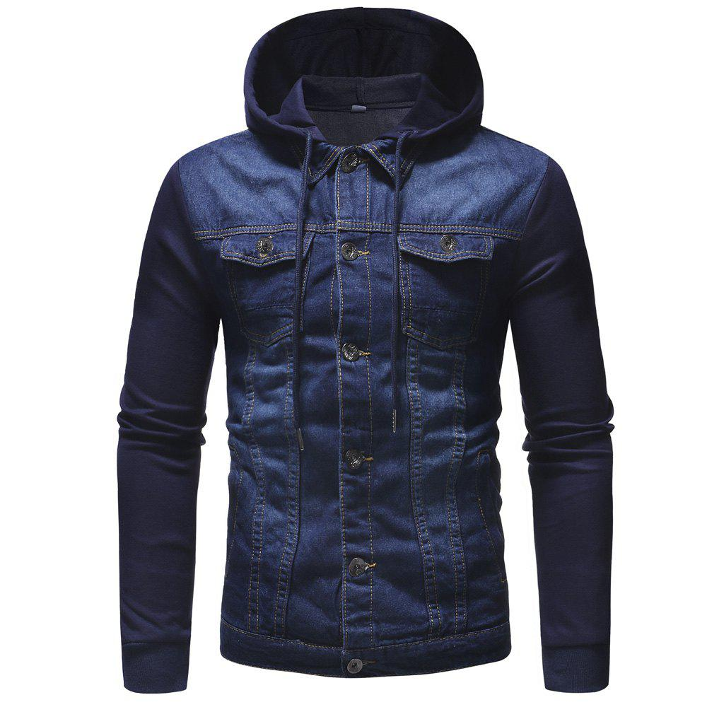 Hot Fashion Multi-pocket Men's Casual Hooded Long-sleeved Denim Jacket