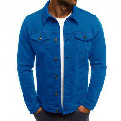 Solid Color Simple Denim Men's Casual Slim Short Jacket -