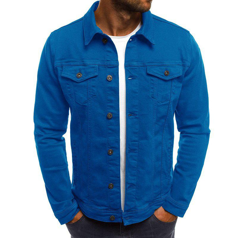 Hot Solid Color Simple Denim Men's Casual Slim Short Jacket