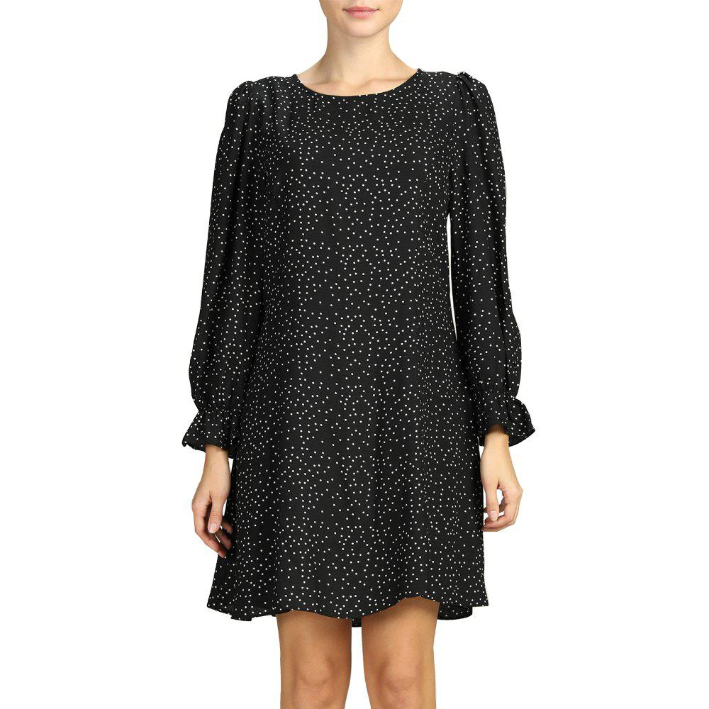 Trendy SBETRO Polka Dots Women Dress Floral Print A-Line Winter Long Sleeve Sundress