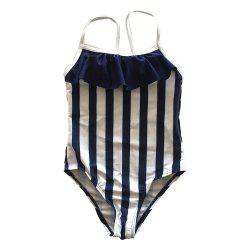SleeWlM Printing One-Piece Swimsuit Parent-Child Outfit Girl Flouncing Stripe -