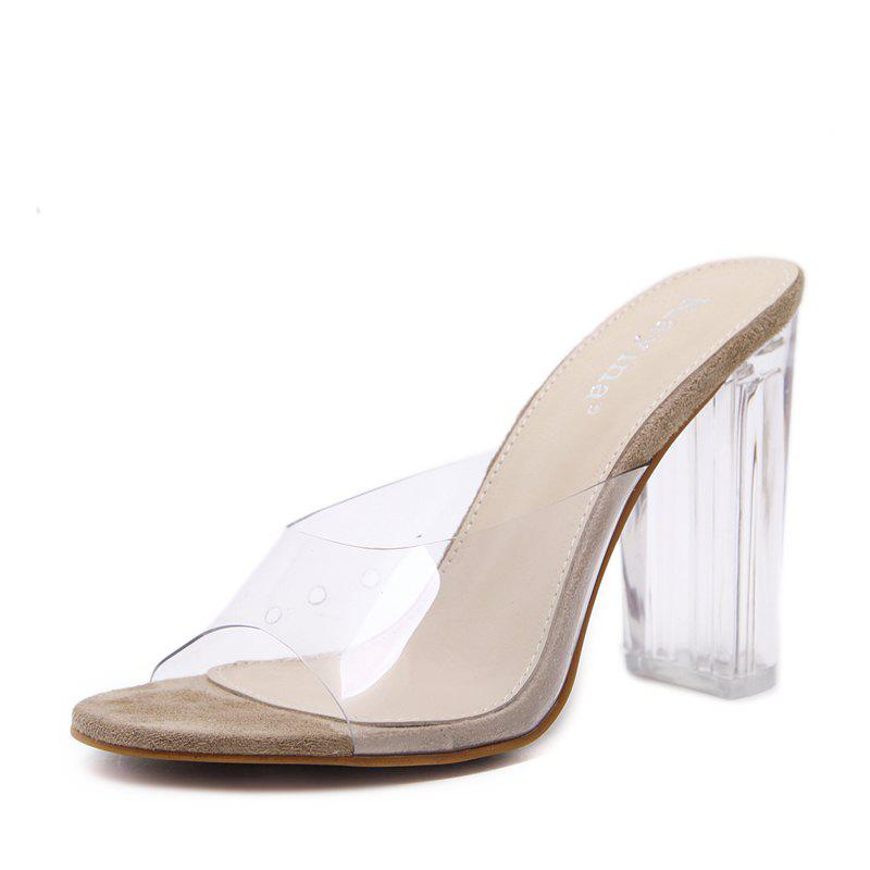 Affordable Peep Toe Square Heel Pumps Leisure Casual Sandals