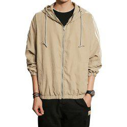 Men Hooded Solid Striped Jacket Coat -