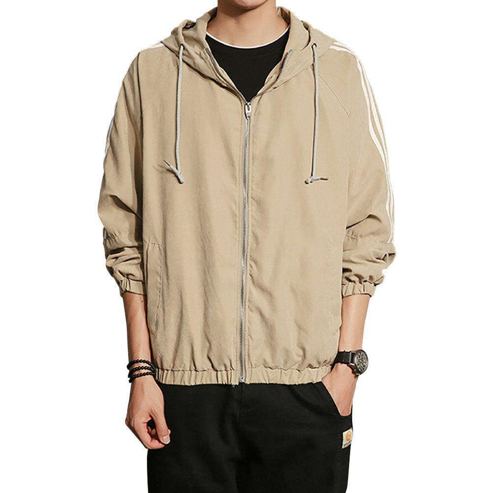 Outfits Men Hooded Solid Striped Jacket Coat