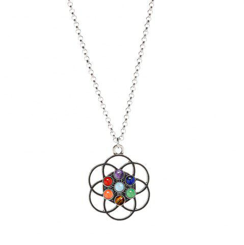 New Seven Chakra Natural Stone Yoga Ring Pendant Necklace