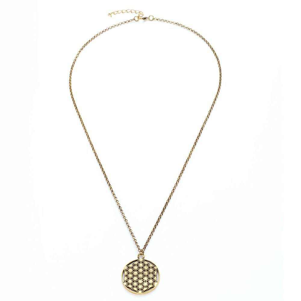 Outfit Alloy Flower of Life Sacred Geometric Pendant Necklace