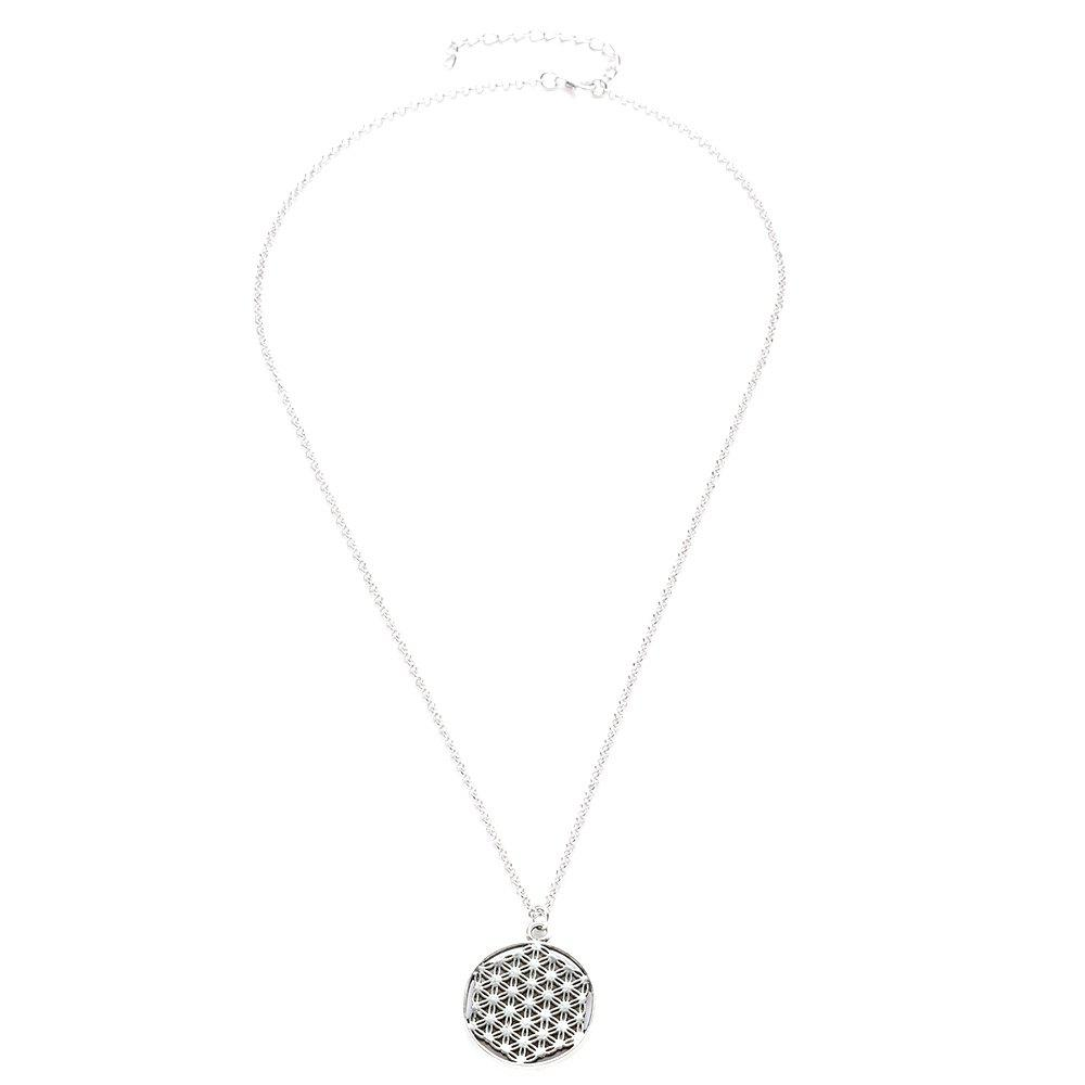 Hot Alloy Flower of Life Sacred Geometric Pendant Necklace