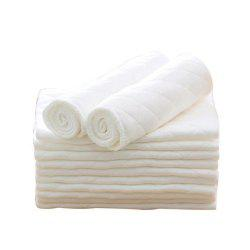 10Pcs Three Layer Eco Cotton Washable Folding Baby Diapers -