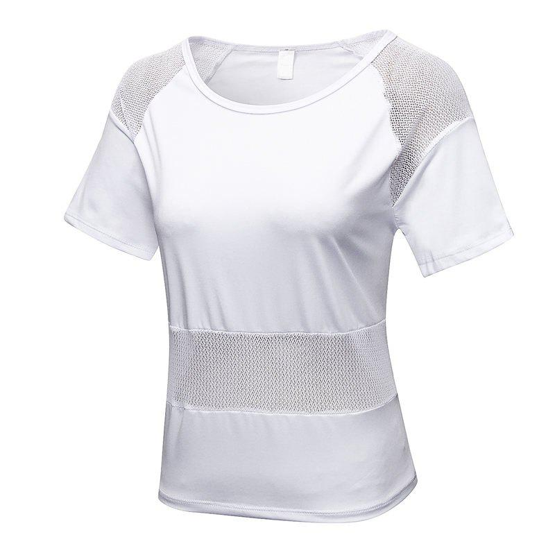 Cheap Women's Mesh Stitching Loose Casual Running Quick-Drying Breathable Blouse