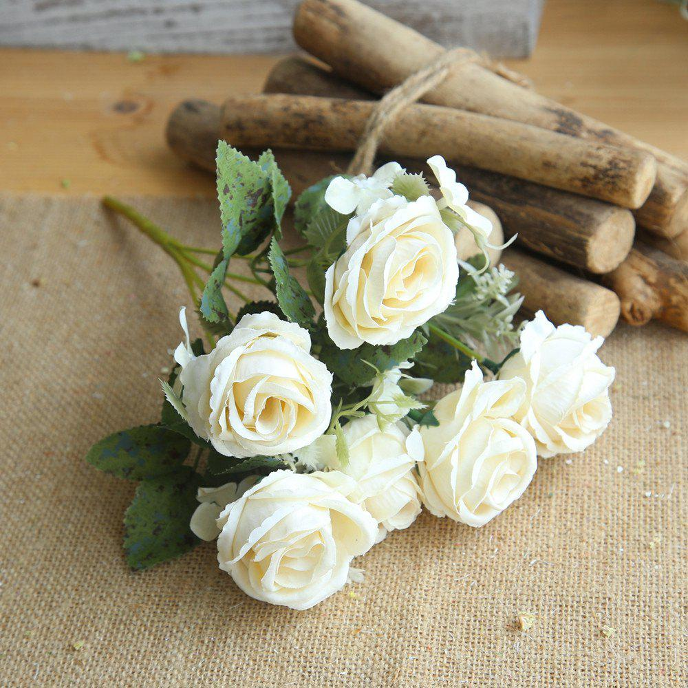 Affordable 1 Bunch Bridal Bouquet Silk Artificial Rose Flower Party Decorations