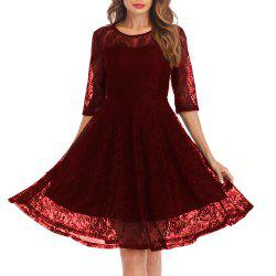 Женская круглая шея Vintage Solid Colored Swing 3/4 Sleeves Lace Dress -