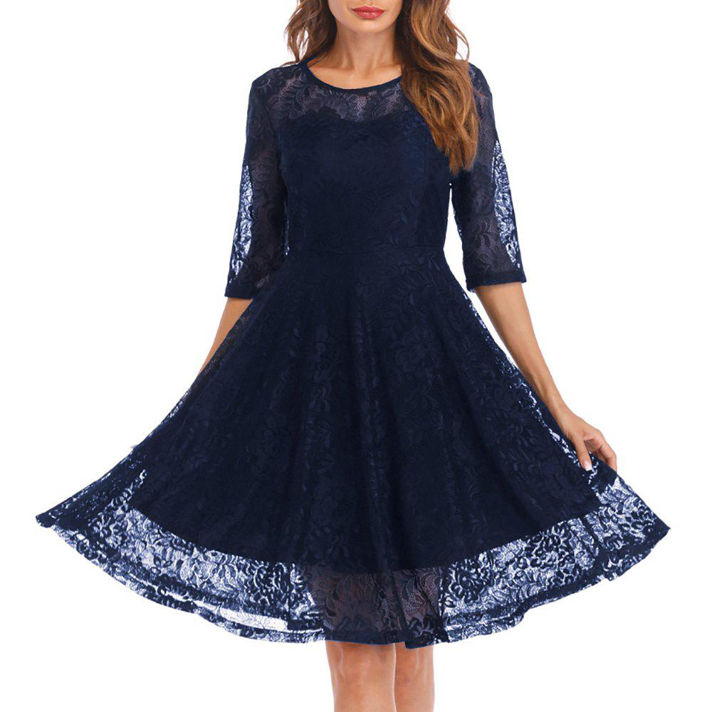 Женская круглая шея Vintage Solid Colored Swing 3/4 Sleeves Lace Dress