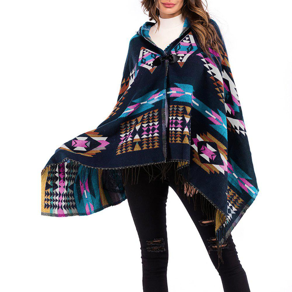 Shops Women's National Cloak Shawl Geometric Print Tassel Loose Plus Size Hooded Coat