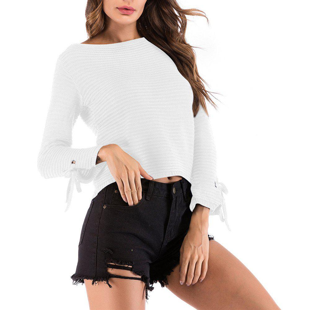9c92b08b43f Women's Solid Color Round Neck Long Sleeve Short Pullover Knitwear Wild  Sweater