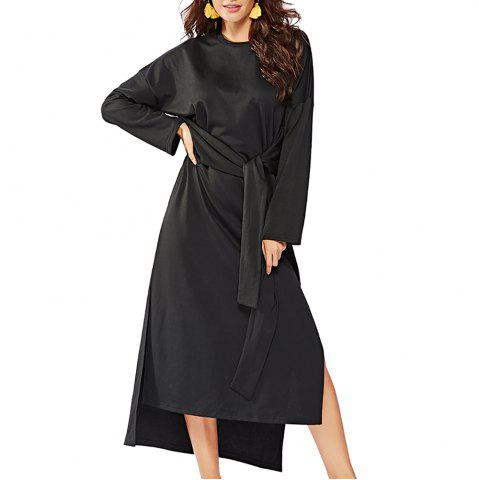 Women's Long Sleeve Irregular Split Solid Color Sashes Loose Fashion Dress