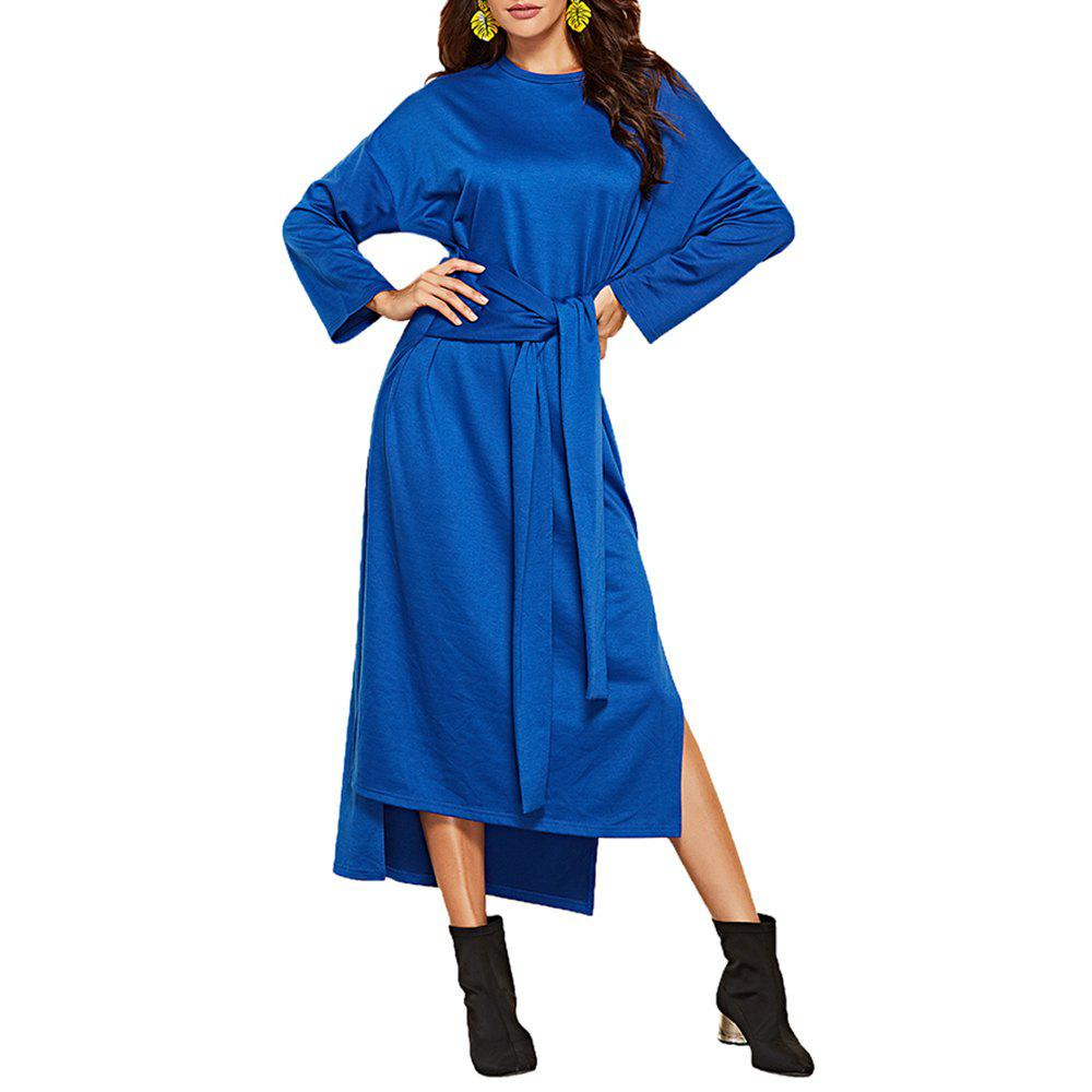 Hot Women's Long Sleeve Irregular Split Solid Color Sashes Loose Fashion Dress