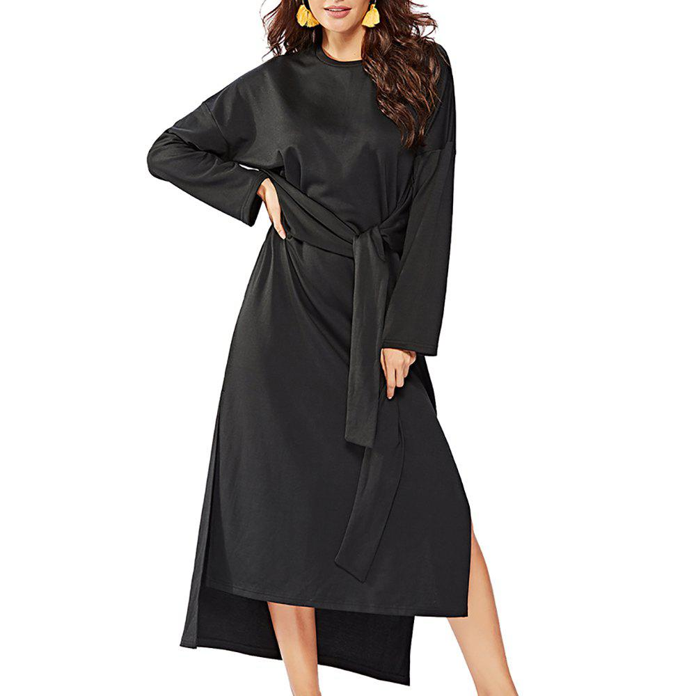 Cheap Women's Long Sleeve Irregular Split Solid Color Sashes Loose Fashion Dress