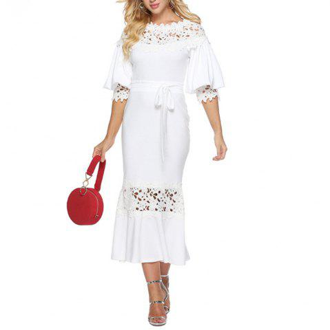 Women's Lace Patchwork Cut Out Lantern Sleeve Solid Party Bodycon Evening Dress