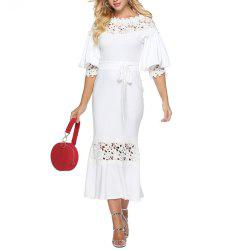 Women's Lace Patchwork Cut Out Lantern Sleeve Solid Party Bodycon Evening Dress -