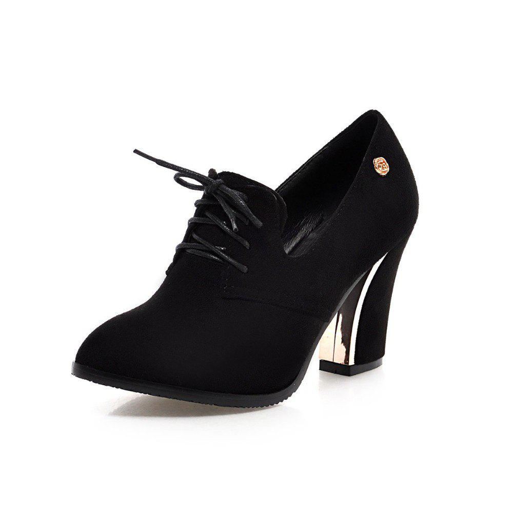 Outfits Women Shoes with Rough Heels Pointed Frenties