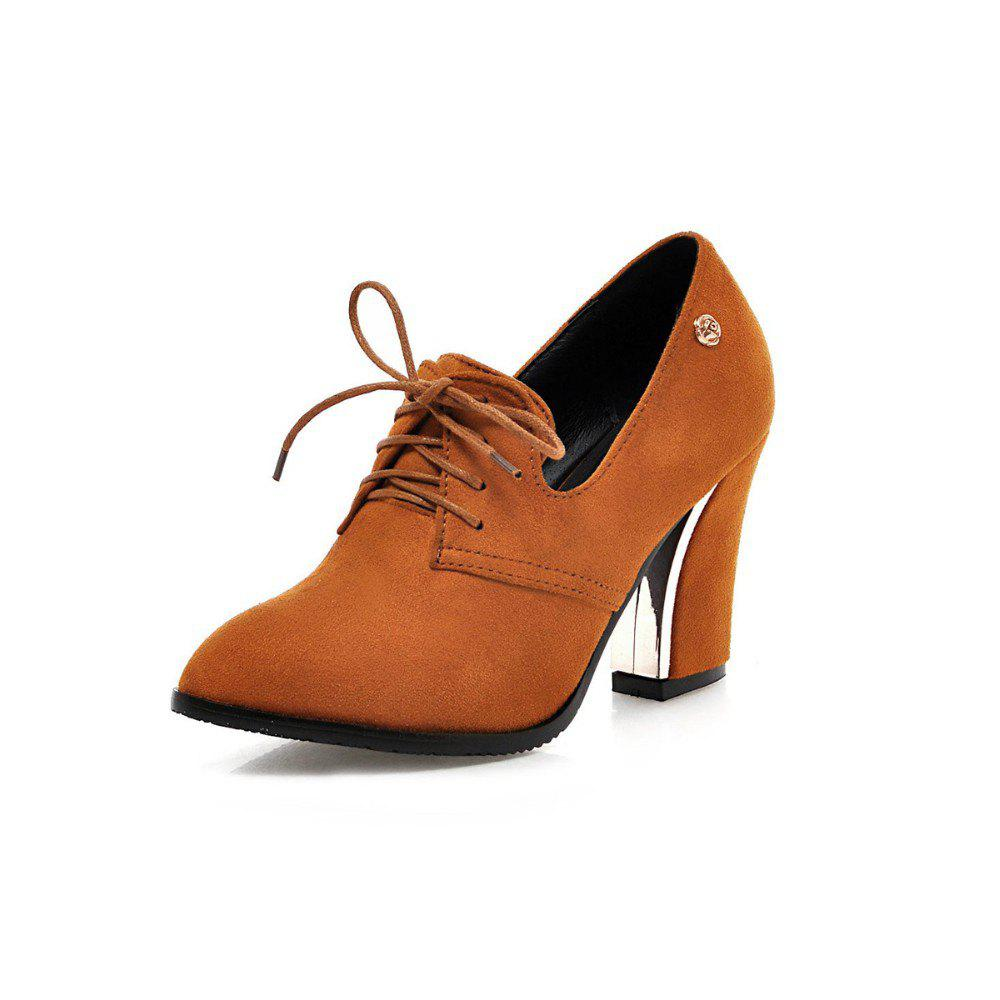 Shop Women Shoes with Rough Heels Pointed Frenties