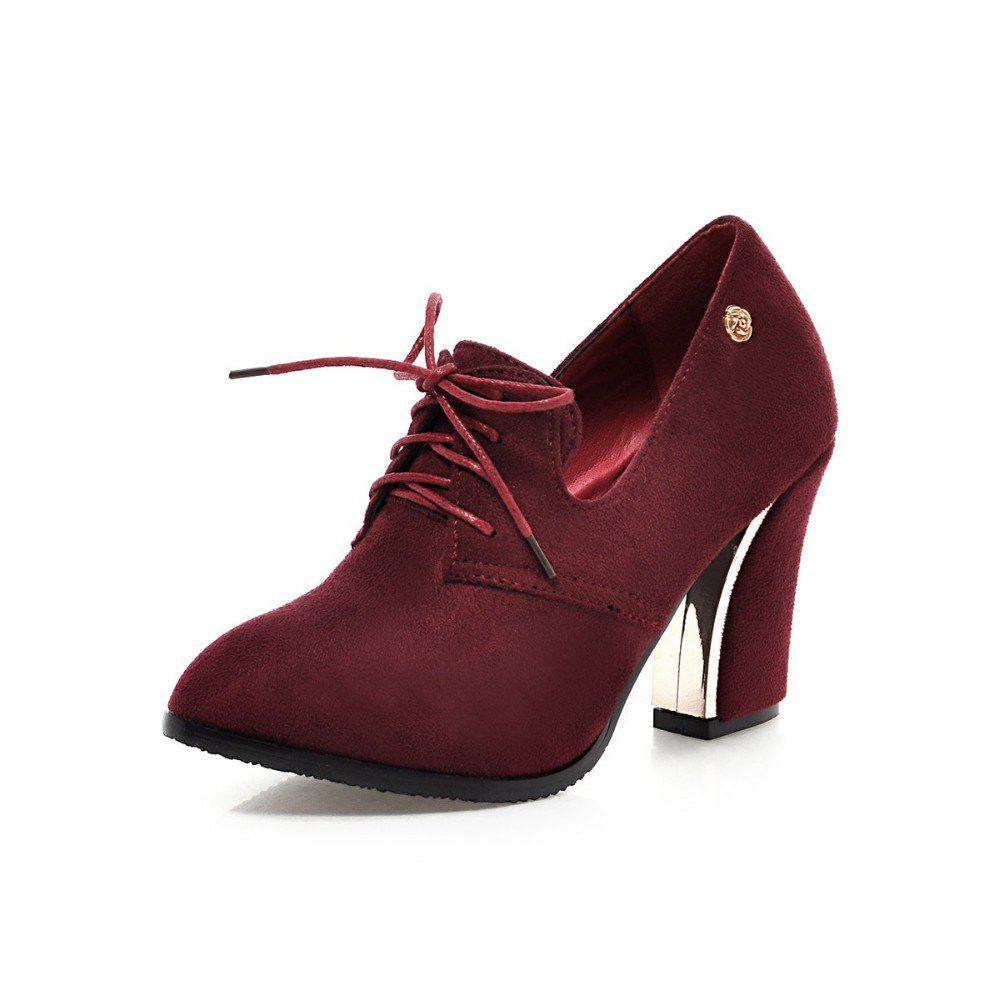 Online Women Shoes with Rough Heels Pointed Frenties