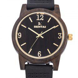 Unisex Natural Wood Leather Handmade Lightweight Quartz Watch -