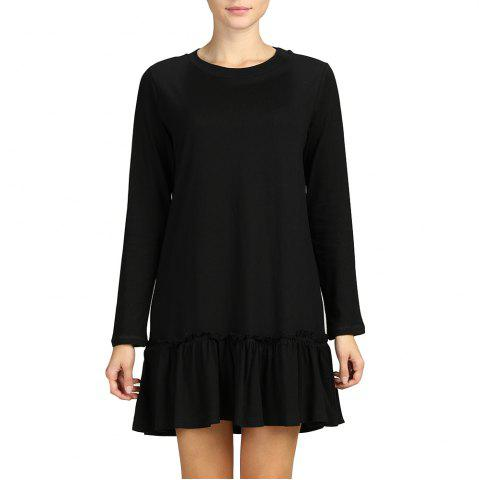 SBETRO Solid Women A-Line Dress O Neck Long Sleeve Casual Pleated Dress
