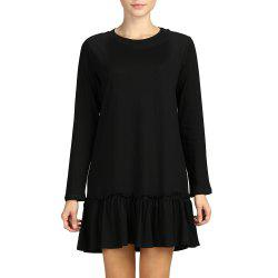 SBETRO Solid Women A-Line Dress O Neck Long Sleeve Casual Pleated Dress -