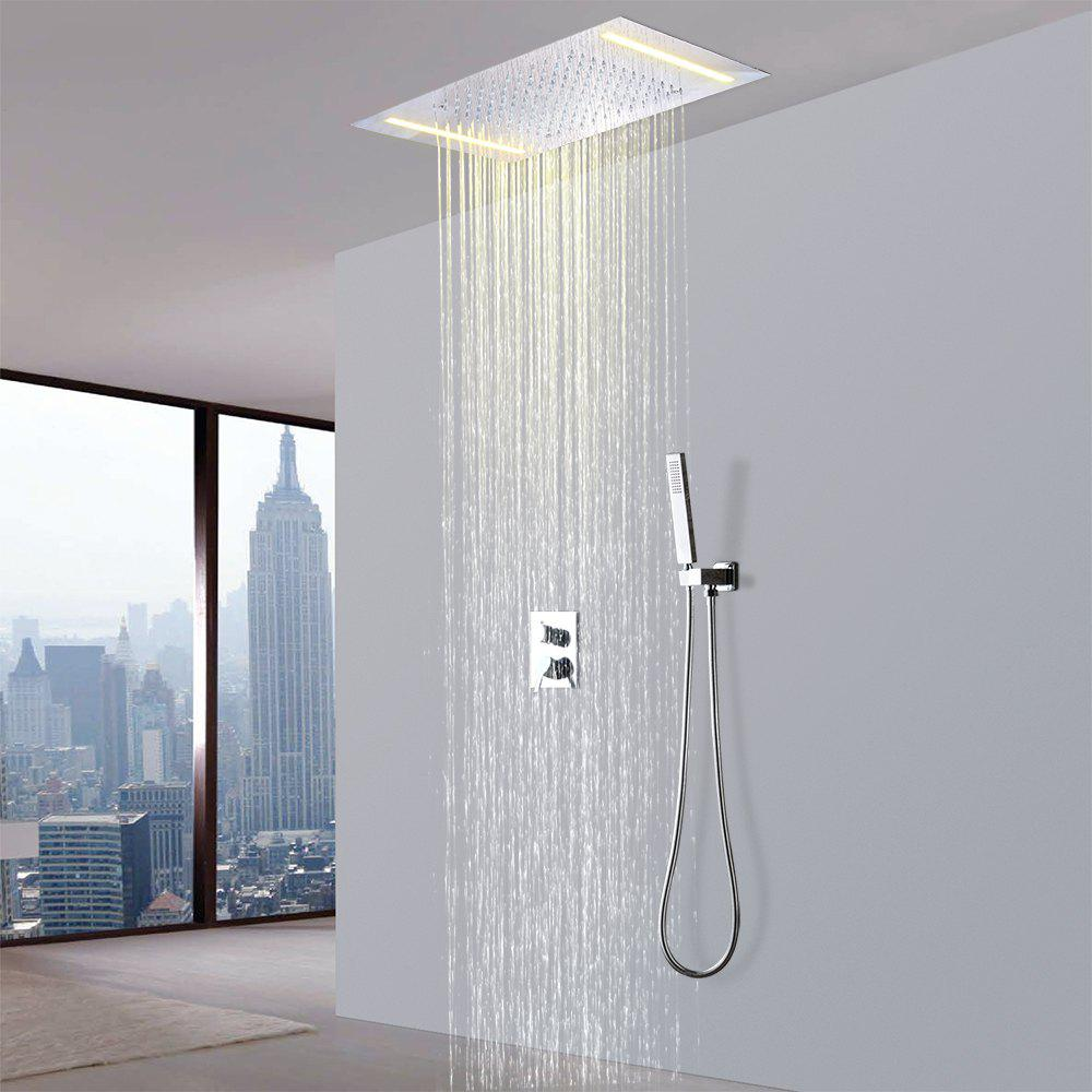 Cheap Hpbge LED Chrome Bathroom Shower Faucet Set System