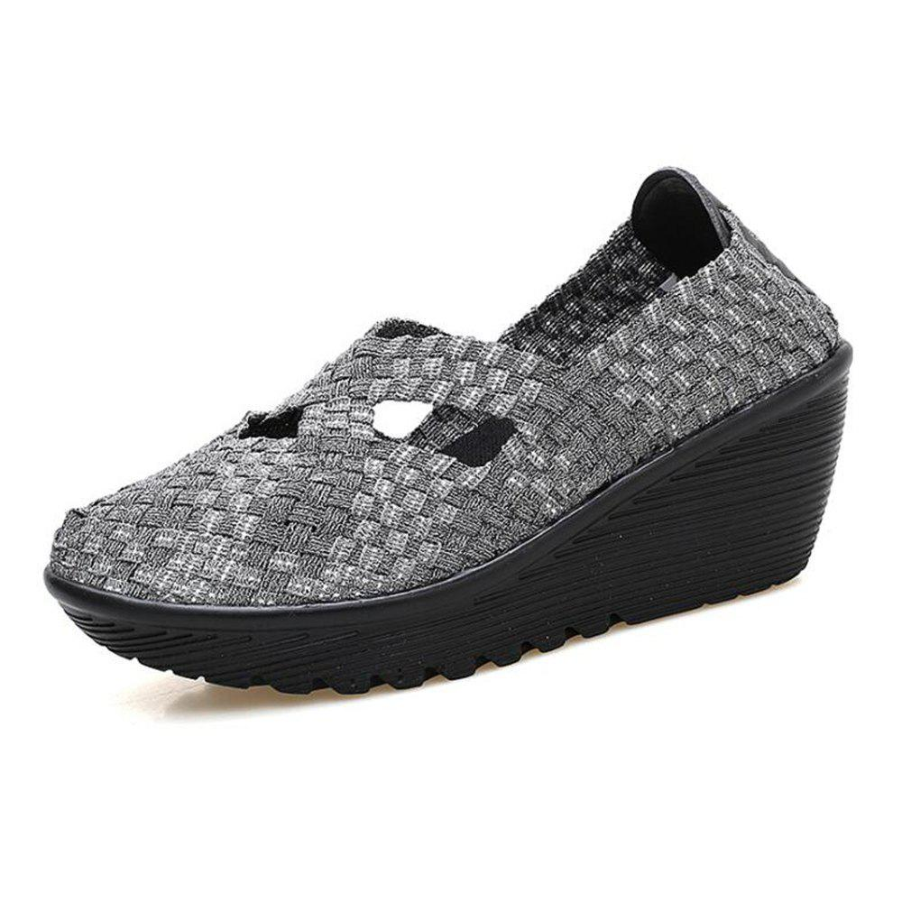 Online Weaving Shoes Thick Bottom Slope and Cake Shoes Comfortable Shoes Casual Shoe