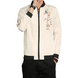 Men New Trend Solid Color Printed Embroidered Jacket -