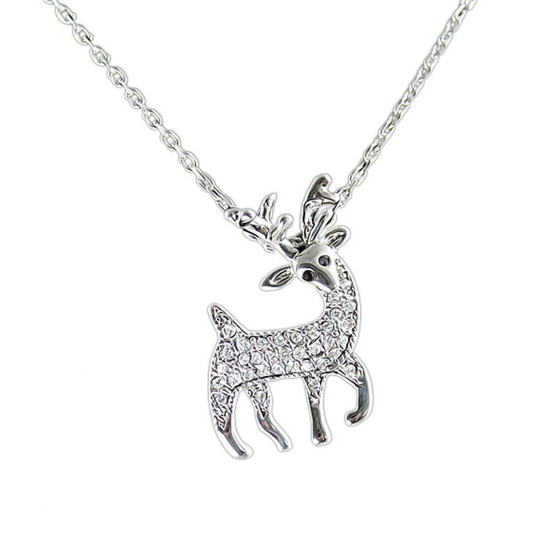 Outfit Gemstone Deer Pendant Necklace