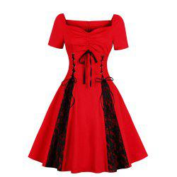 V-Neck with Short Sleeves Draw String Lace-Up Bud Silk Joining Together Dress -