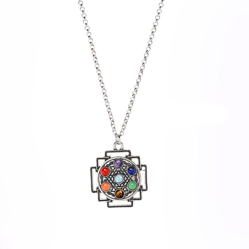 New Seven-Chakra Natural Stone Yoga Geometric Stripe Pendant Necklace