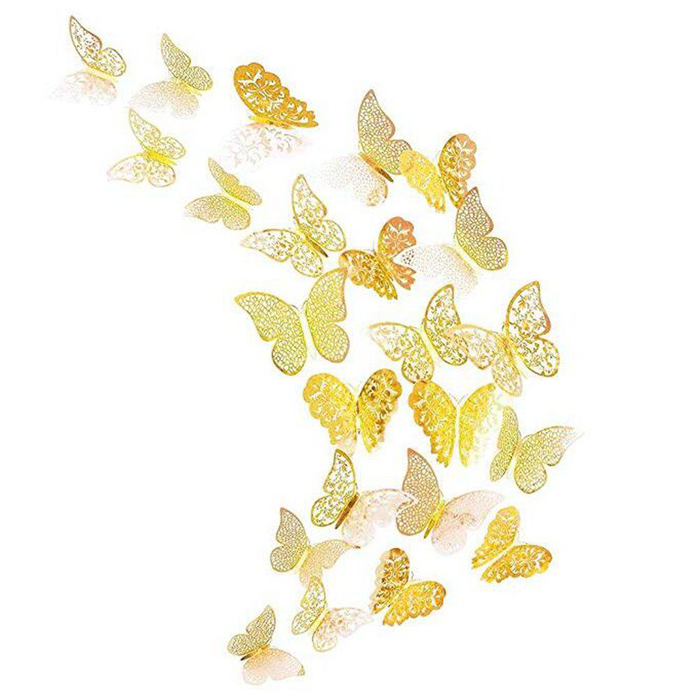 Gold C 12 Pcs 3d Wallpaper Hollow Wall Stickers Butterfly | Rosegal.com