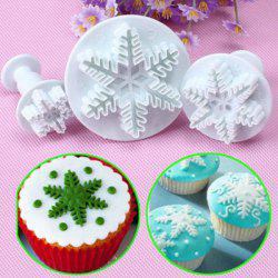 3PC Snowflake Fondant Cookie Cutter Cake Plunger Sugarcraft Mold -
