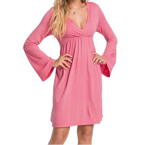Women's V Neck Solid Color High Waist Flare Sleeve Casual Dress