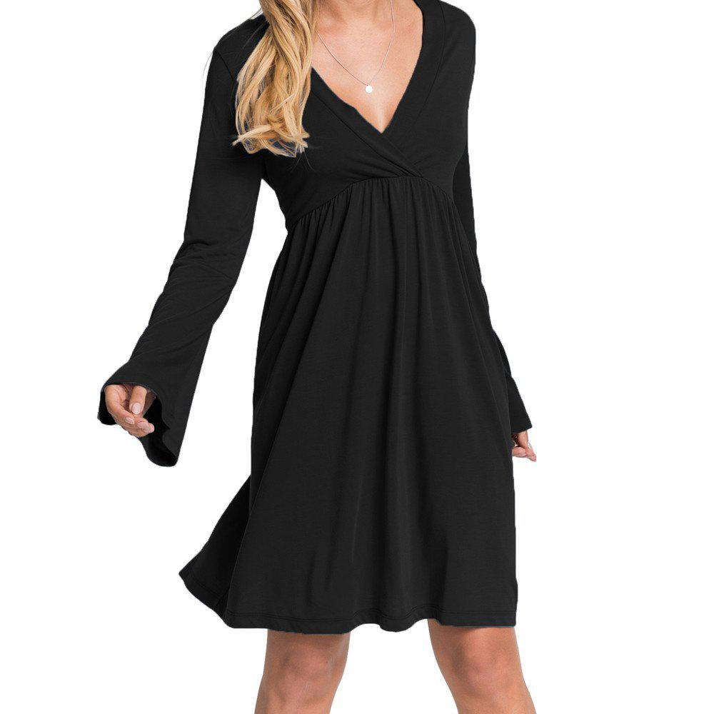 90ef774827877 2019 Women s V Neck Solid Color High Waist Flare Sleeve Casual Dress ...