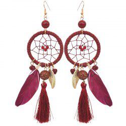 Hollow Out Circle Feather Tassel Pendant Beaded Trendy Earrings -