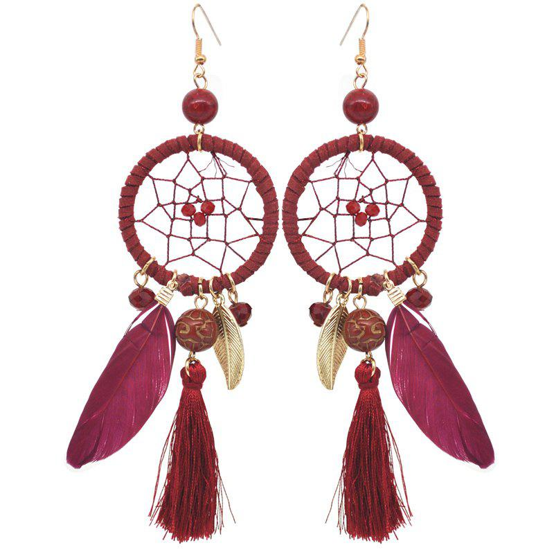 Trendy Hollow Out Circle Feather Tassel Pendant Beaded Trendy Earrings