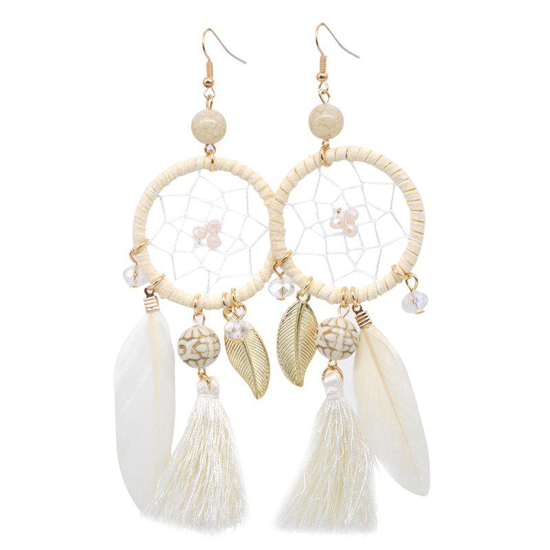 Outfit Hollow Out Circle Feather Tassel Pendant Beaded Trendy Earrings