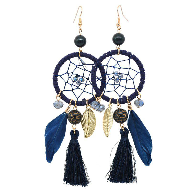Online Hollow Out Circle Feather Tassel Pendant Beaded Trendy Earrings