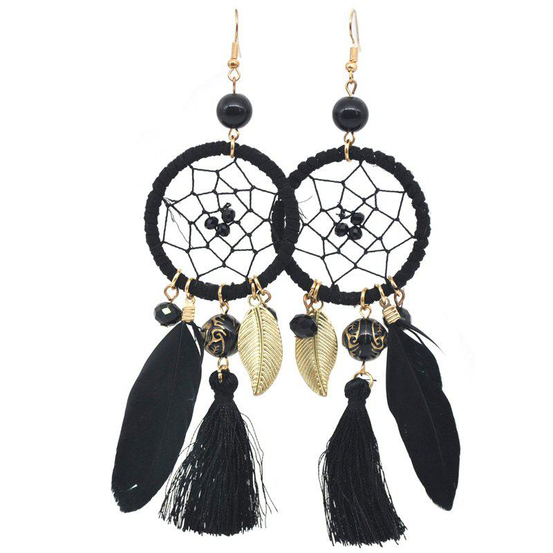 New Hollow Out Circle Feather Tassel Pendant Beaded Trendy Earrings