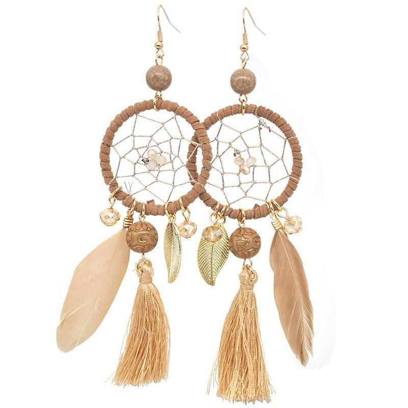 Chic Hollow Out Circle Feather Tassel Pendant Beaded Trendy Earrings