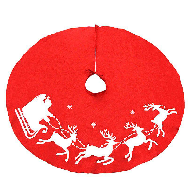 Lovely Red Christmas Tree Skirt Sled Reindeer and Snowflakes
