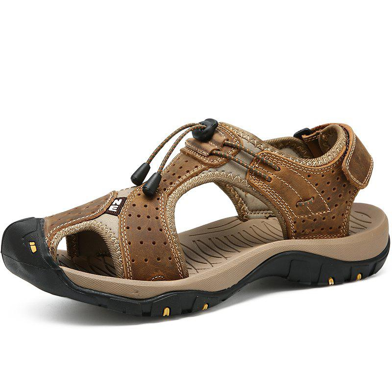 Chic Genuine Leather Summer Beach Male Shoes Casual Sandals